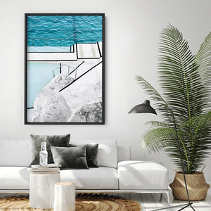 Bondi Icebergs Pool VI - Art Print, Stretched Canvas or Framed Canvas Wall Art, Shown inside a frame
