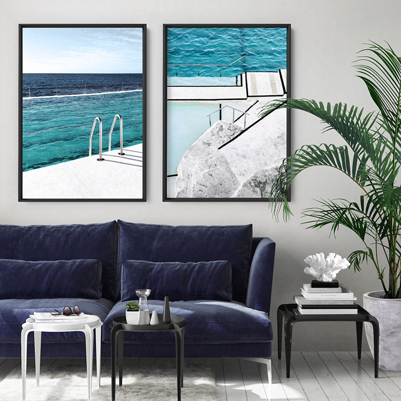 Bondi Icebergs Pool VI - Art Print, Stretched Canvas or Framed Canvas Wall Art, Shown framed in a room mockup