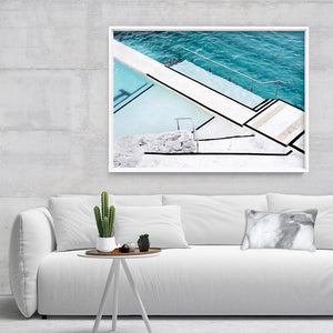 Bondi Icebergs Pool VII - Art Print, Stretched Canvas or Framed Canvas Wall Art, Shown inside a frame