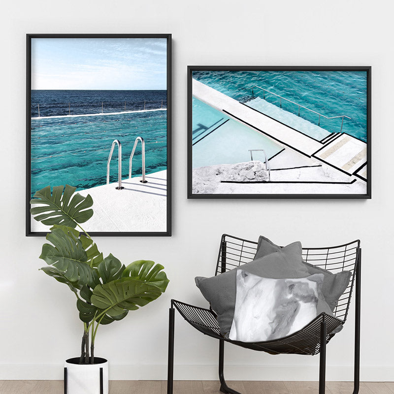 Bondi Icebergs Pool VII - Art Print, Stretched Canvas or Framed Canvas Wall Art, Shown framed in a room mockup