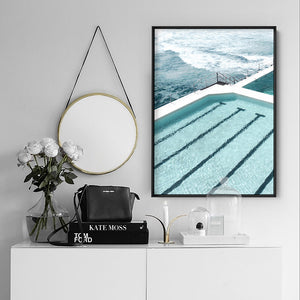 Bondi Icebergs Pool IX - Art Print, Stretched Canvas or Framed Canvas Wall Art, Shown inside a frame