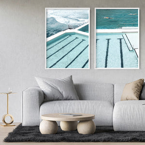 Bondi Icebergs Pool IX - Art Print, Stretched Canvas or Framed Canvas Wall Art, Shown framed in a room mockup