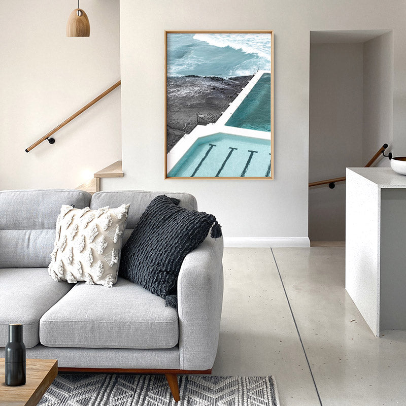 Bondi Icebergs Pool XII - Art Print, Stretched Canvas or Framed Canvas Wall Art, Shown inside a frame