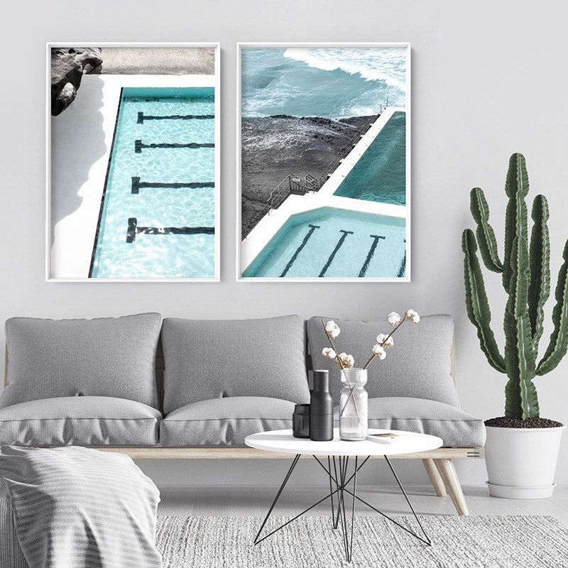 Bondi Icebergs Pool XII - Art Print, Stretched Canvas or Framed Canvas Wall Art, Shown framed in a room mockup