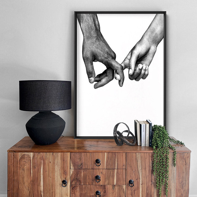 Couple Holding Hands I - Art Print, Stretched Canvas or Framed Canvas Wall Art, Shown inside a frame