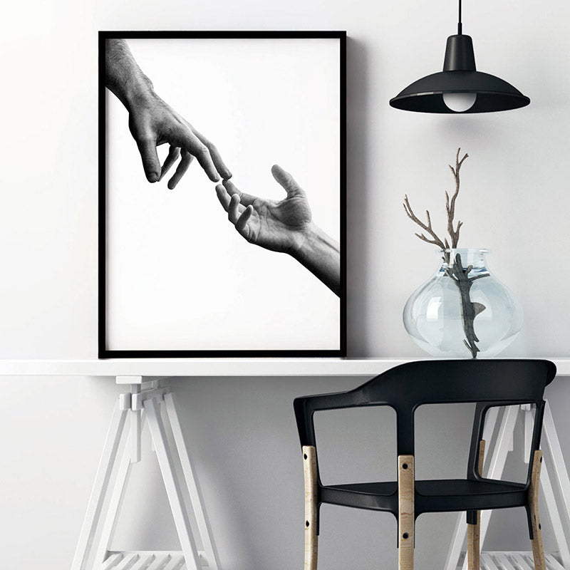Hands Reaching Out - Art Print, Stretched Canvas or Framed Canvas Wall Art, Shown inside a frame