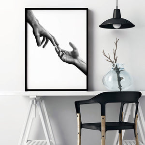 Load image into Gallery viewer, Hands Reaching Out - Art Print, Stretched Canvas or Framed Canvas Wall Art, Shown inside a frame