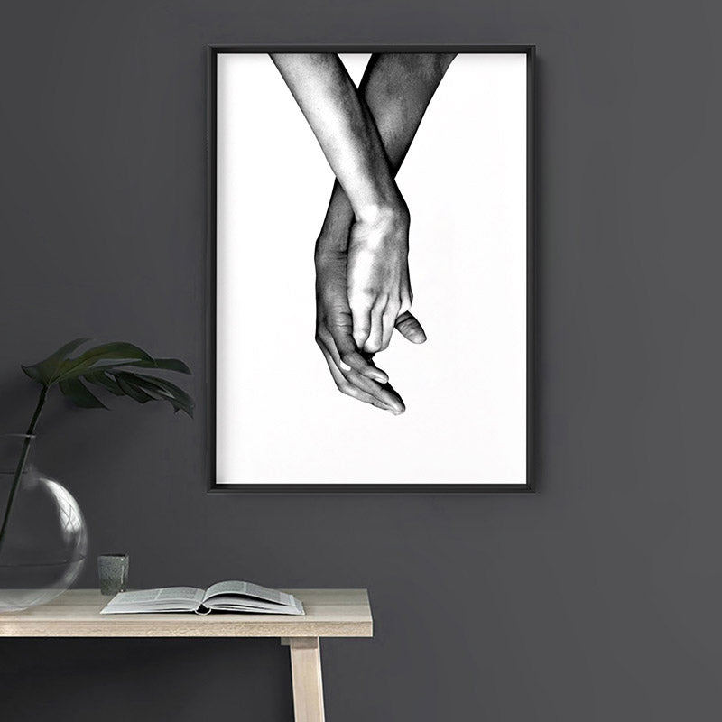 Couple Holding Hands II - Art Print, Stretched Canvas or Framed Canvas Wall Art, Shown inside a frame