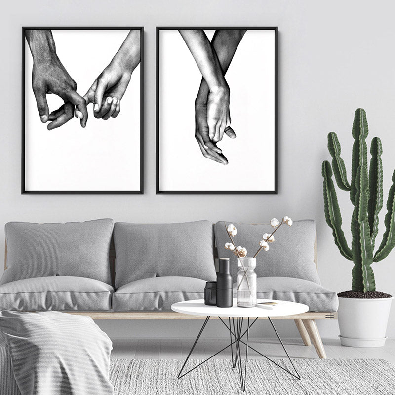 Couple Holding Hands II - Art Print, Stretched Canvas or Framed Canvas Wall Art, Shown framed in a room mockup