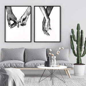 Load image into Gallery viewer, Couple Holding Hands II - Art Print, Stretched Canvas or Framed Canvas Wall Art, Shown framed in a room mockup