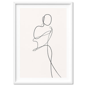 Female Pose Line Art II - Art Print, Stretched Canvas, or Framed Canvas Wall Art