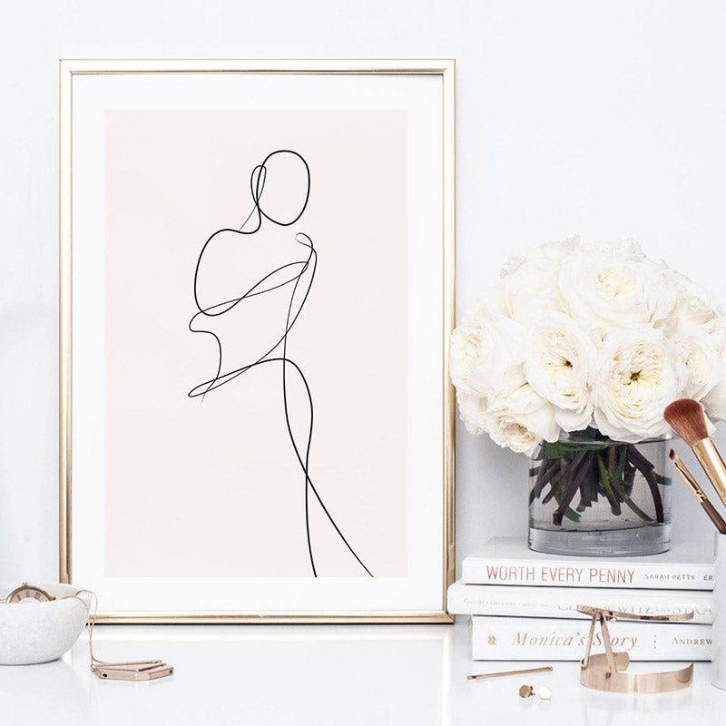 Female Pose Line Art II - Art Print, Stretched Canvas or Framed Canvas Wall Art, Shown inside a frame
