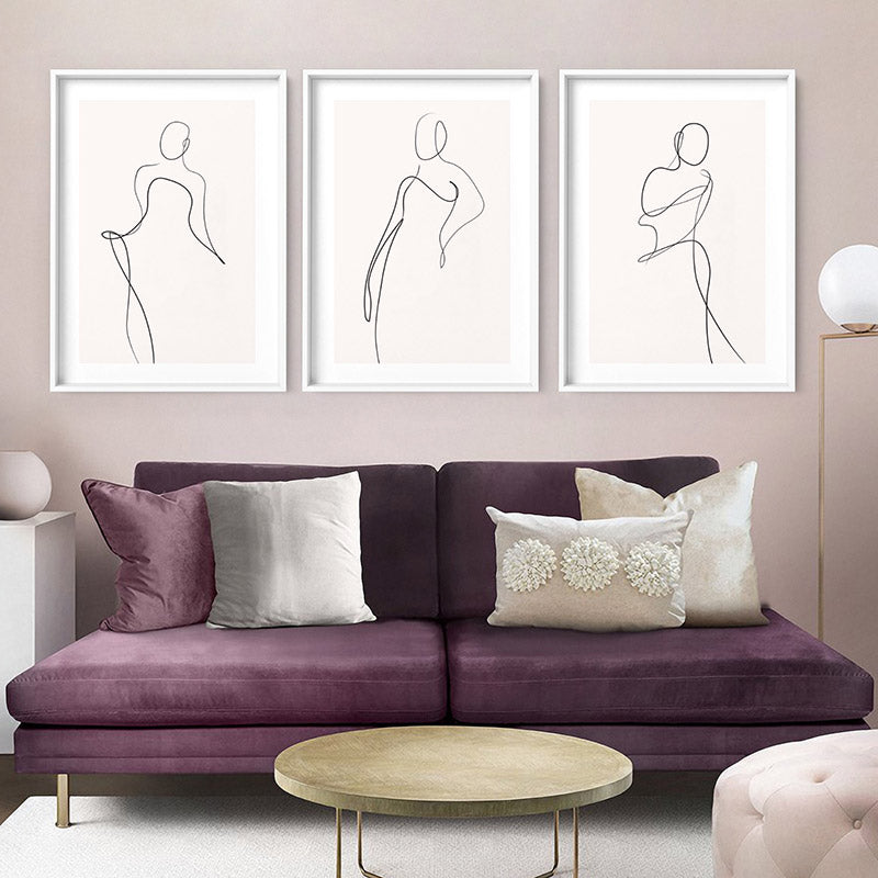 Female Pose Line Art II - Art Print, Stretched Canvas or Framed Canvas Wall Art, Shown framed in a room mockup