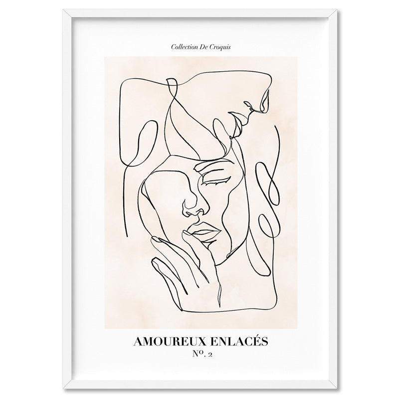 Abstract Line Art Figures II | Lovers Entwine - Art Print