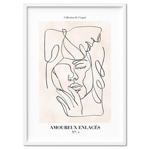 Abstract Line Art Figures II | Lovers Entwine - Art Print, Stretched Canvas, or Framed Canvas Wall Art