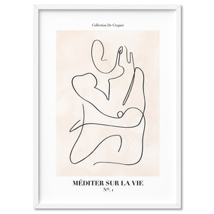 Abstract Line Art Figures I | Meditate on Life - Art Print, Stretched Canvas, or Framed Canvas Wall Art