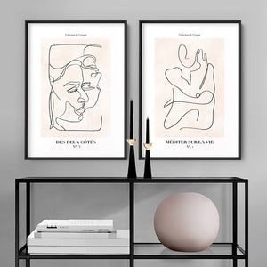 Abstract Line Art Figures I | Meditate on Life - Art Print, Stretched Canvas or Framed Canvas Wall Art, Shown framed in a room mockup