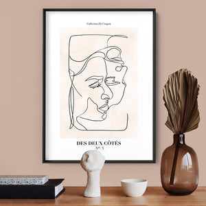 Abstract Line Art Figures III | On both sides - Art Print, Stretched Canvas or Framed Canvas Wall Art, Shown inside a frame