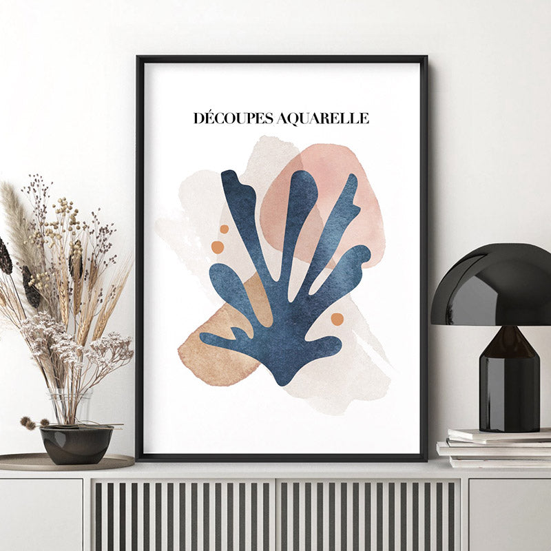 Decoupes Aquarelle I - Art Print, Stretched Canvas or Framed Canvas Wall Art, Shown inside a frame