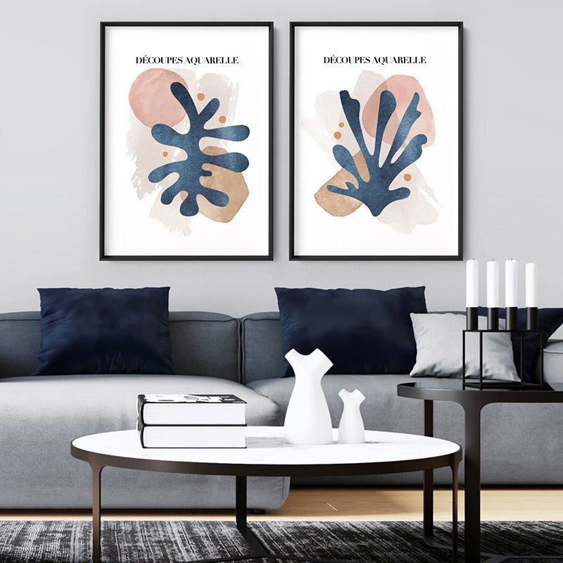 Decoupes Aquarelle I - Art Print, Stretched Canvas or Framed Canvas Wall Art, Shown framed in a room mockup