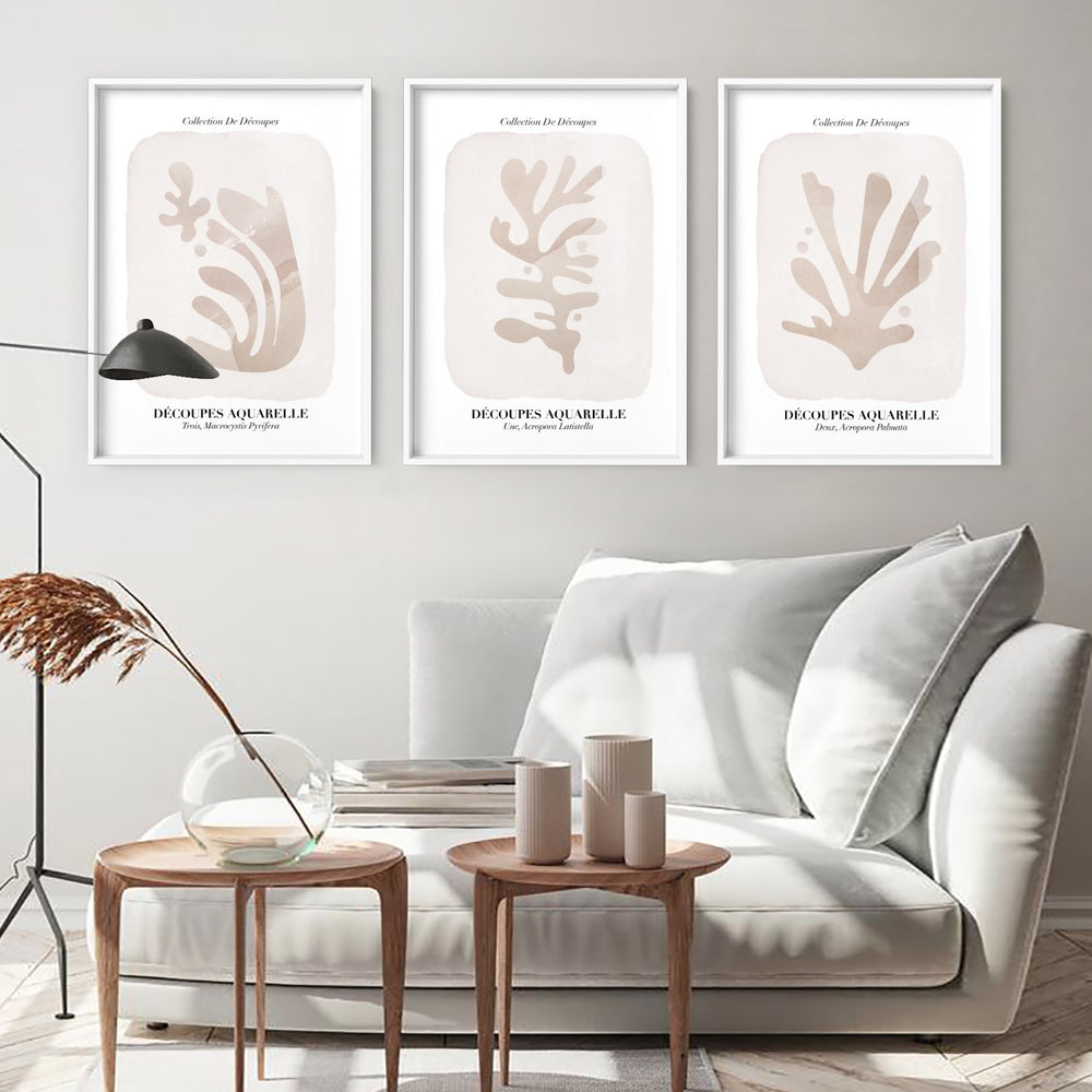 Decoupes Aquarelle III - Art Print, Stretched Canvas or Framed Canvas Wall Art, Shown framed in a room mockup