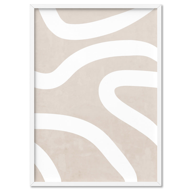 Boho Abstracts | White Lines I - Art Print