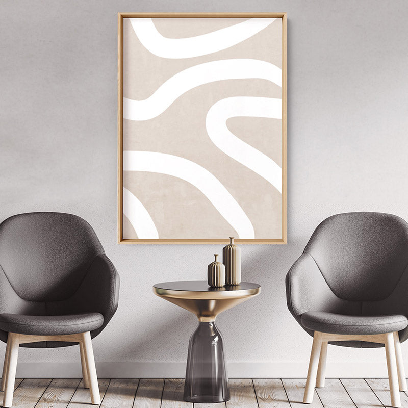 Boho Abstracts | White Lines I - Art Print, Stretched Canvas or Framed Canvas Wall Art, Shown inside a frame