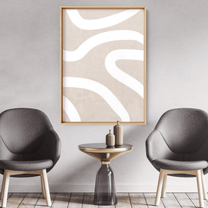 Load image into Gallery viewer, Boho Abstracts | White Lines I - Art Print, Stretched Canvas or Framed Canvas Wall Art, Shown inside a frame
