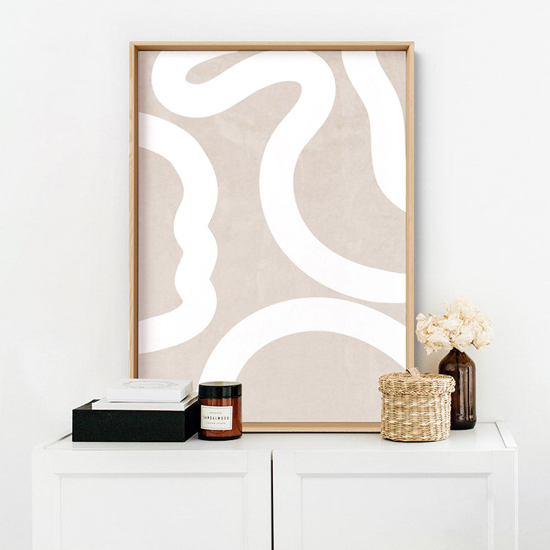 Boho Abstracts | White Lines II - Art Print, Stretched Canvas or Framed Canvas Wall Art, Shown inside a frame