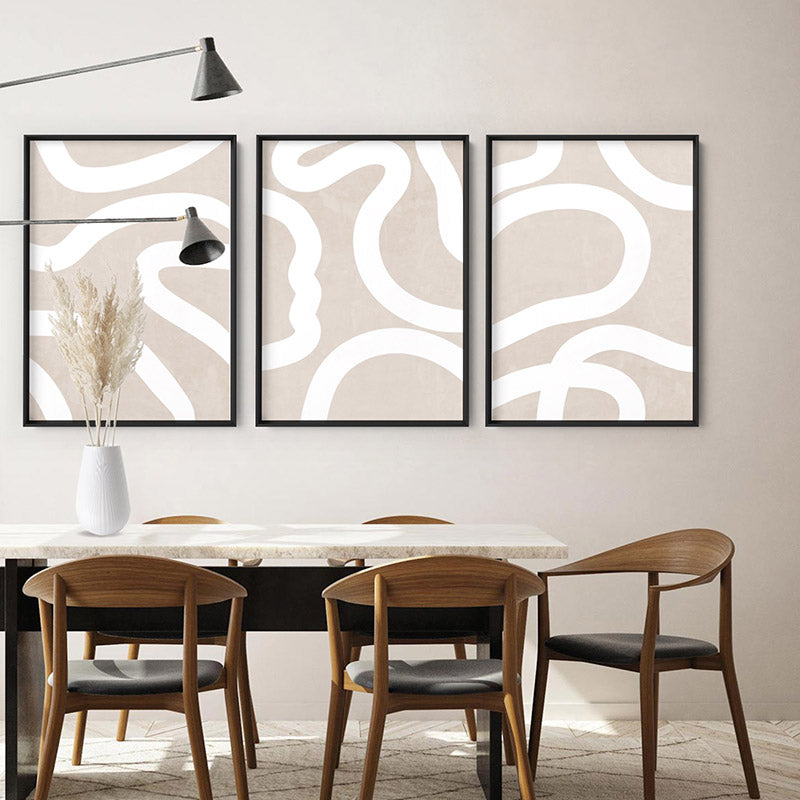 Load image into Gallery viewer, Boho Abstracts | White Lines II - Art Print, Stretched Canvas or Framed Canvas Wall Art, Shown framed in a room mockup