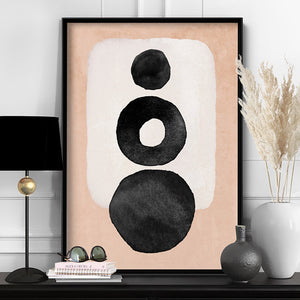 Boho Shapes Abstract II - Art Print, Stretched Canvas or Framed Canvas Wall Art, Shown inside a frame