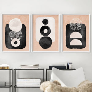 Boho Shapes Abstract II - Art Print, Stretched Canvas or Framed Canvas Wall Art, Shown framed in a room mockup