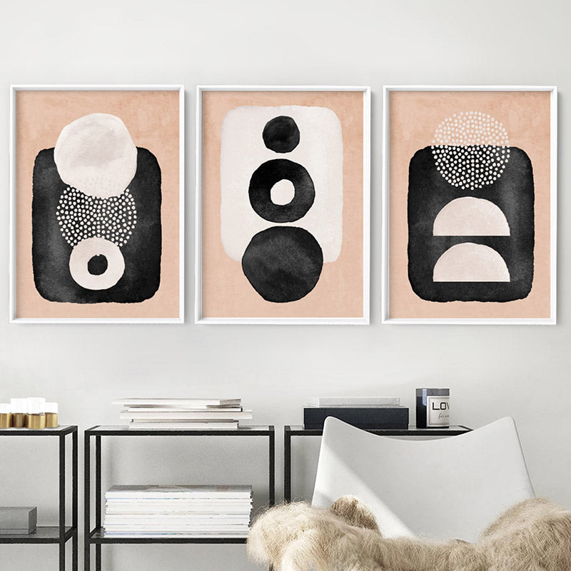 Boho Shapes Abstract III - Art Print, Stretched Canvas or Framed Canvas Wall Art, Shown framed in a room mockup