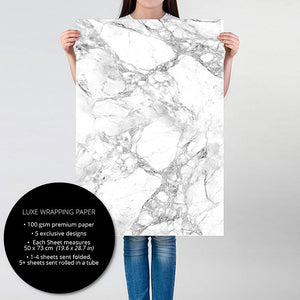 Load image into Gallery viewer, Person holding White Marble gift wrapping paper