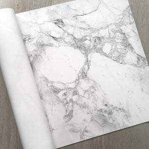 Premium Wrapping Paper in White Marble Design, close up side view