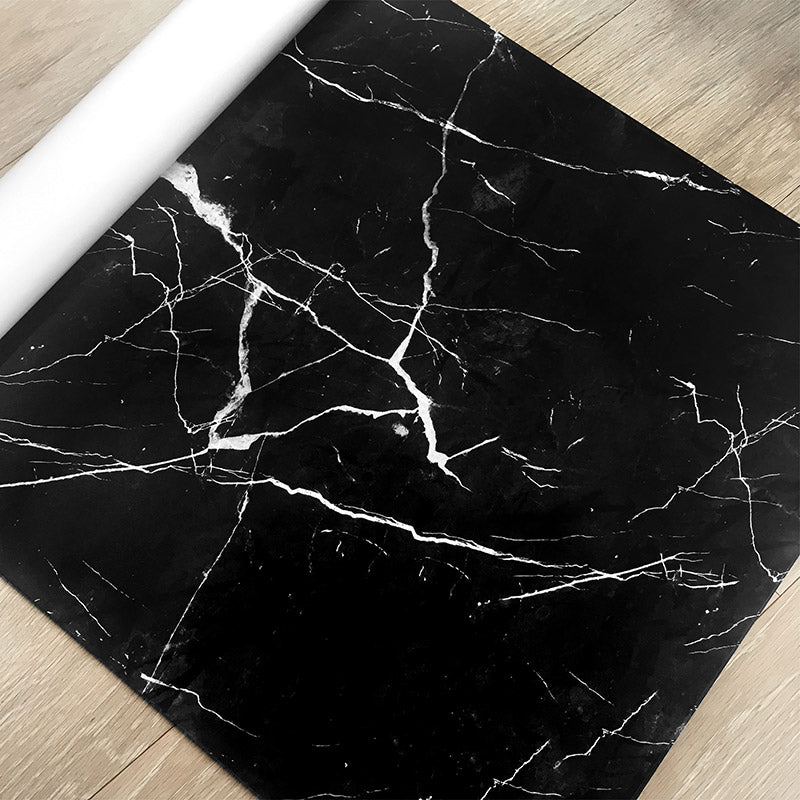 Premium Wrapping Paper in Black Marble Design, close up side view