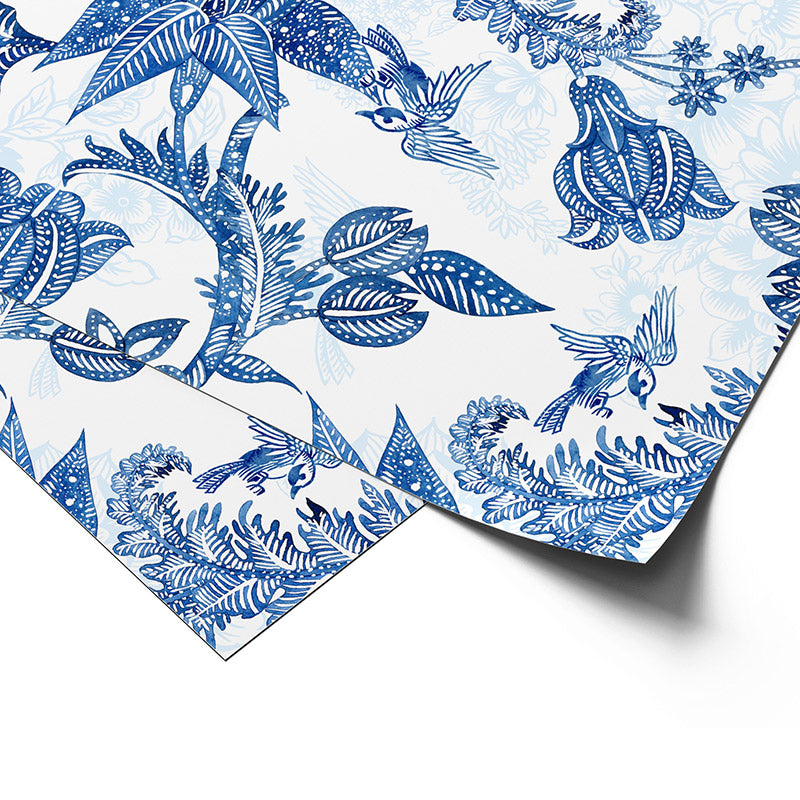 Premium Wrapping Paper in Hamptons Chinoiserie Paisley Design, close up view