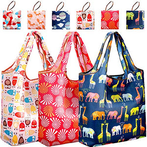 2a0764c193c8  Thickened Nylon  Reusable Shopping Grocery Bags Pack of 6