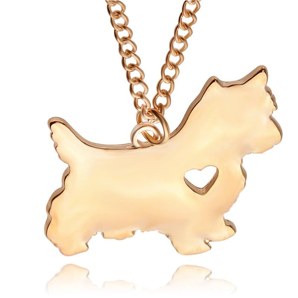 Yorkshire Terrier Dog Heart Necklace