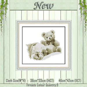 Baby and Bear Cross Stich Embroidery Set