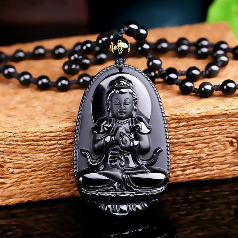 Natural Obsidian Hand Carved Buddha Amulet Pendant Necklace