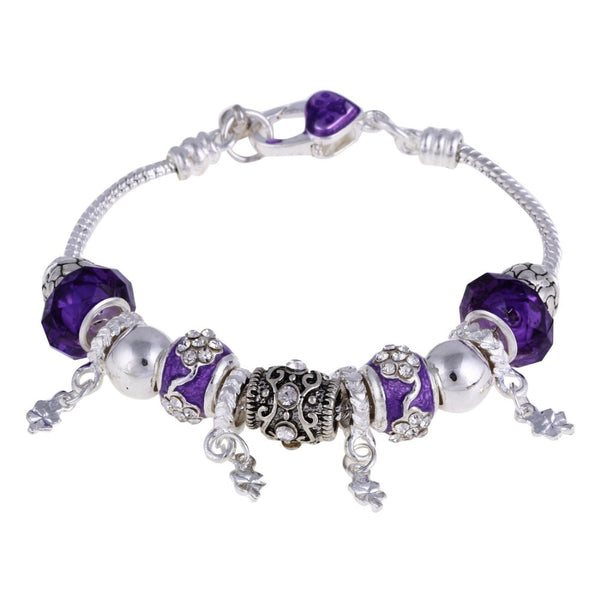European Style Vintage Silver Plated Crystal Charm Bracelet