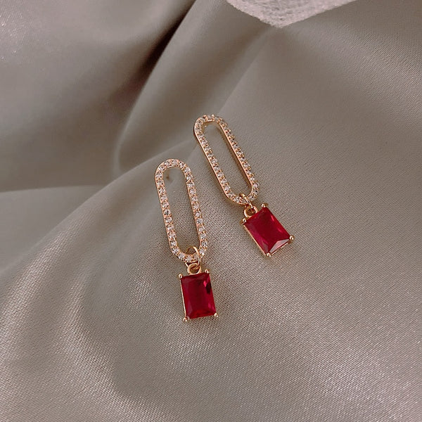 Priceless Ruby Pin dangling earrings