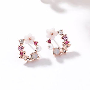 Stunning Circle of Bedazzled Flowers and Crystal stud earrings
