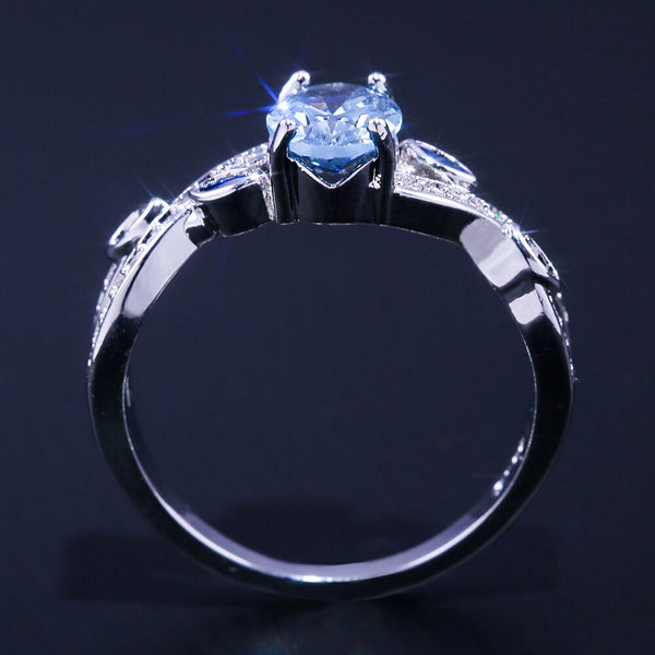 Luxury Skyblue Cubic Stone Silver Ring