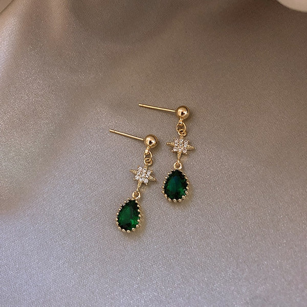 Elegant Crystal Green dangling earrings