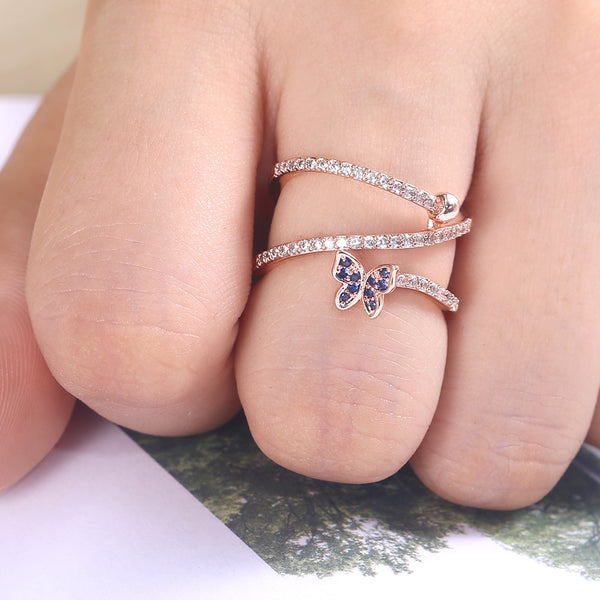Whirl Shape Butterfly Crystal Ring