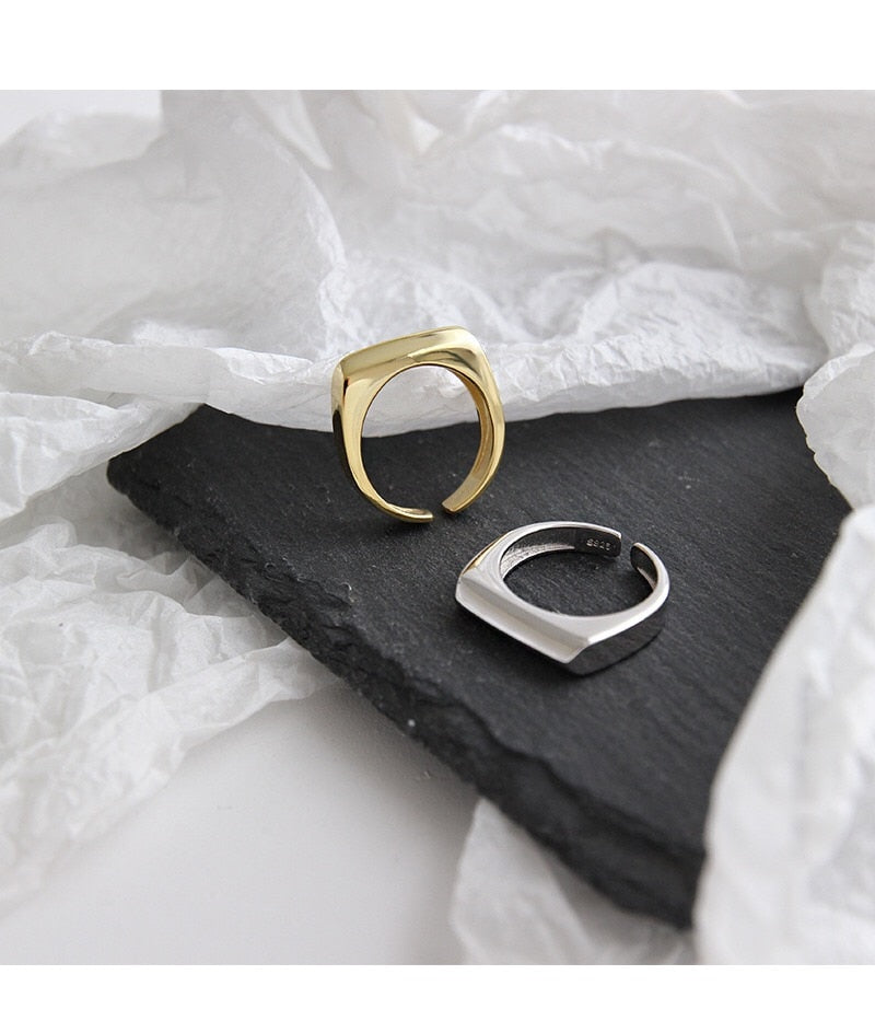 Minimalist Rectangular Gold and Silver Ring
