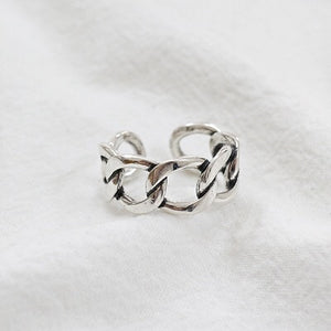 Vintage Lock Chain Silver Ring