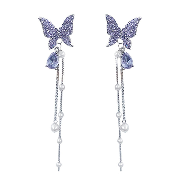 Mesmerising Purple Crystal Butterfly earring with Dangling Pearls